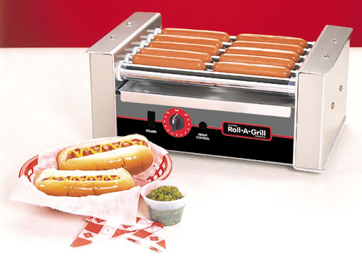 Hot Dog Grill - 10 Dog Roller w/Silverstone, Bun Warmer, Guard